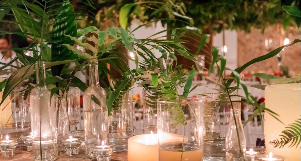 Boda tropical Con velas